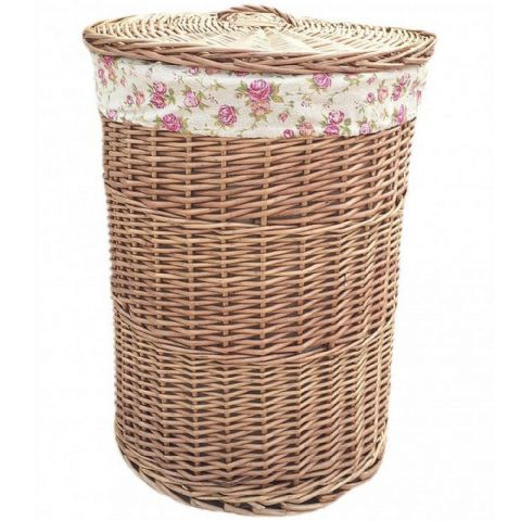 Cotswolds Lined Willow Wicker Laundry Bin Basket Vintage Rose Large H 60 x W 46cm